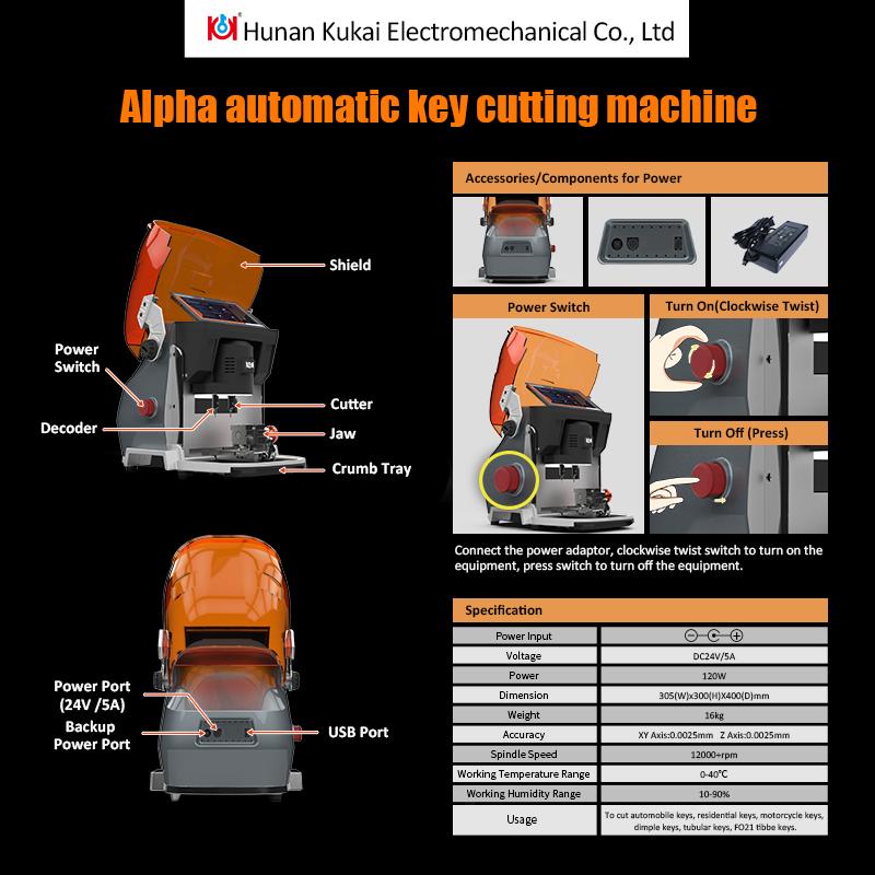 Alpha key cutting machine technical parameter