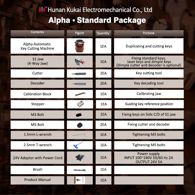Alpha key cutting machine standard-package