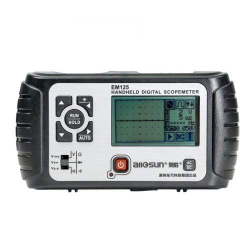 All-sun 25MHz 100MSa/s Digital 2 in1 Handheld Portable Oscilloscope+Multimeter Single Channel Waveform USB LCD Backlight EM125