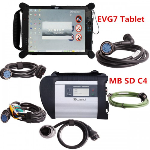 V2019.7 MB SD C4 Connect Compact 4 MB Star Diagnosis with Original EVG7 DL46/HDD500GB/DDR2GB Tablet Installed Ready to Use With DTS Monaco