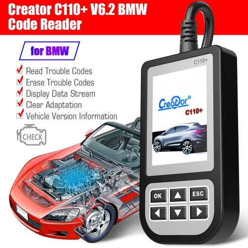(US/UK Ship No Tax)Creator C110+ Code Reader V6.2 for BMW From 2000 to 2013 Year