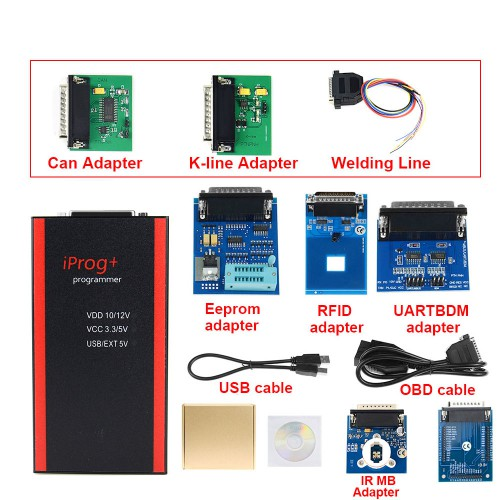 Iprog+ V84 Iprog Pro Programmer With 7 Adapters Support IMMO + Mileage Correction + Airbag Reset Replace Carprog