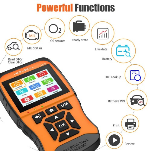 KOLSOL KS501 OBDII & EOBD Scan Tool for Universal Vehicles