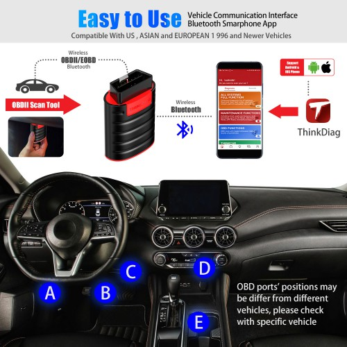 (UK/US Ship) THINKCAR Thinkdiag OBD2 full system Power than X431 easydiag Diagnostic Tool has 3 free software EOBD2+DEMO+1 car Software