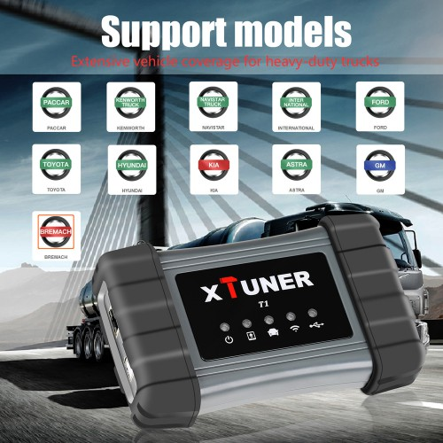 XTUNER T1 Heavy Duty Trucks Auto Intelligent Diagnostic Tool Support WIFI for Windows XP/7/8/10 Multi-Language (US Ship NO Tax)