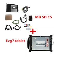 V2019.5 MB SD C5 Connect Compact 5 MB Star Diagnosis with Original EVG7 2GB Tablet PC (Installed Well) With DTS Monaco Vediamo