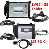 Latest V2019.5 MB SD C4 Connect Compact 4 MB Star Diagnosis with Original 4GB EVG7 DL46/HDD500GB/DDR Tablet PC Free Installed Ready to Use Run Faster