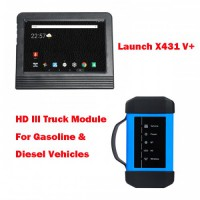 (Special Offer) Launch X431 V+ Global Version Bi-Directional Diagnostic Scanner and HD3 HD III Truck Module for Gasoline and Diesel Vehicles