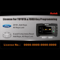 Autek IKEY820 License for 2018 Ford and Toyota (G and H Chip) Key Programming