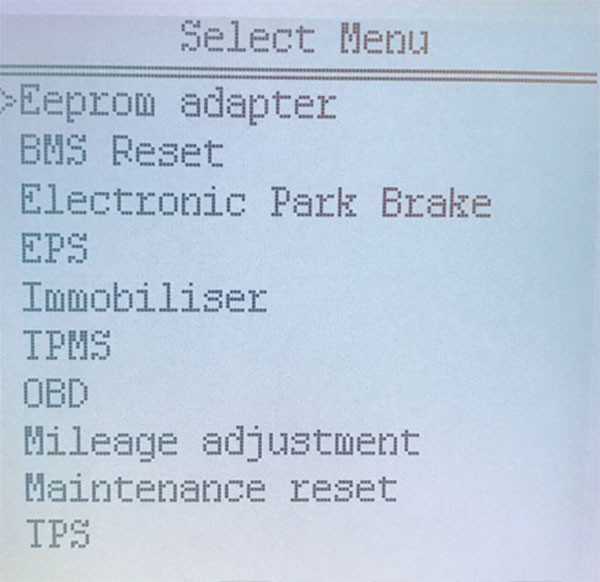 Super SBB2 Key Programmer menu