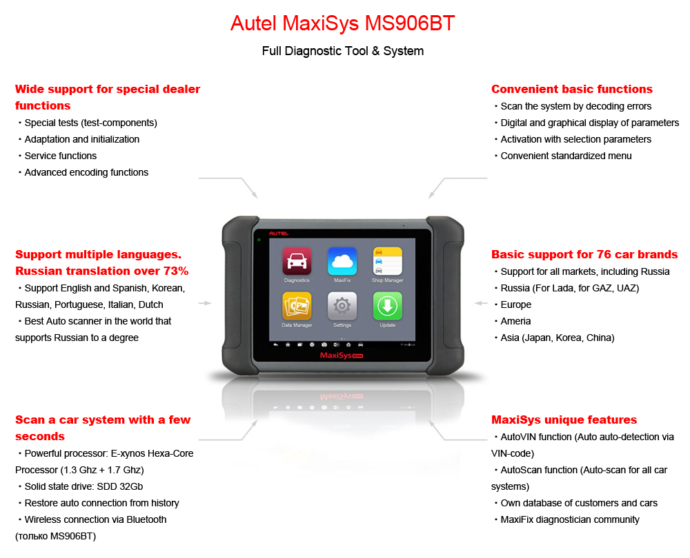 AUTEL MaxiSys MS906BT full diagnostic tool & system
