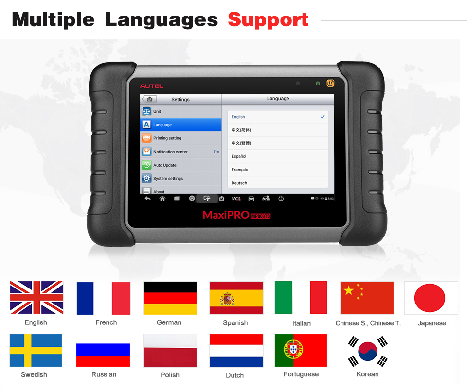 mp808ts Languages