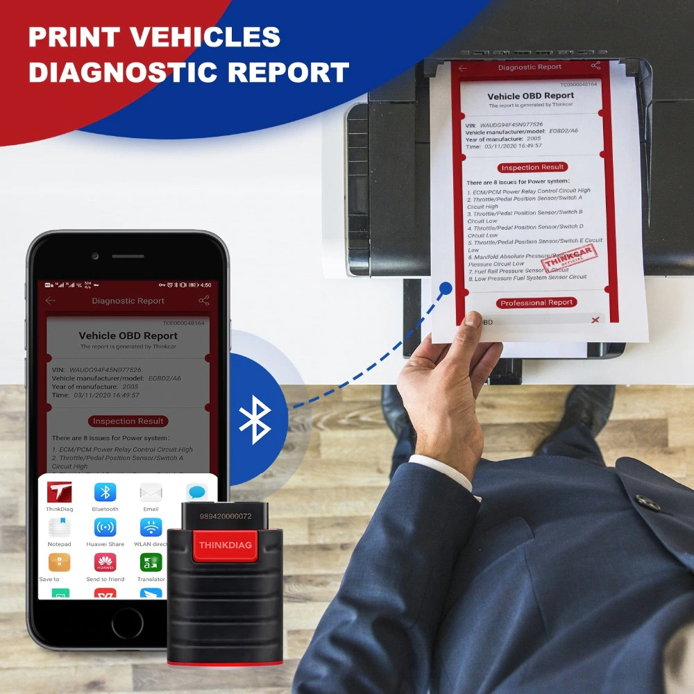 thinkdiag support do a OBD vehicles diagnostic report, and print  the vehicles report