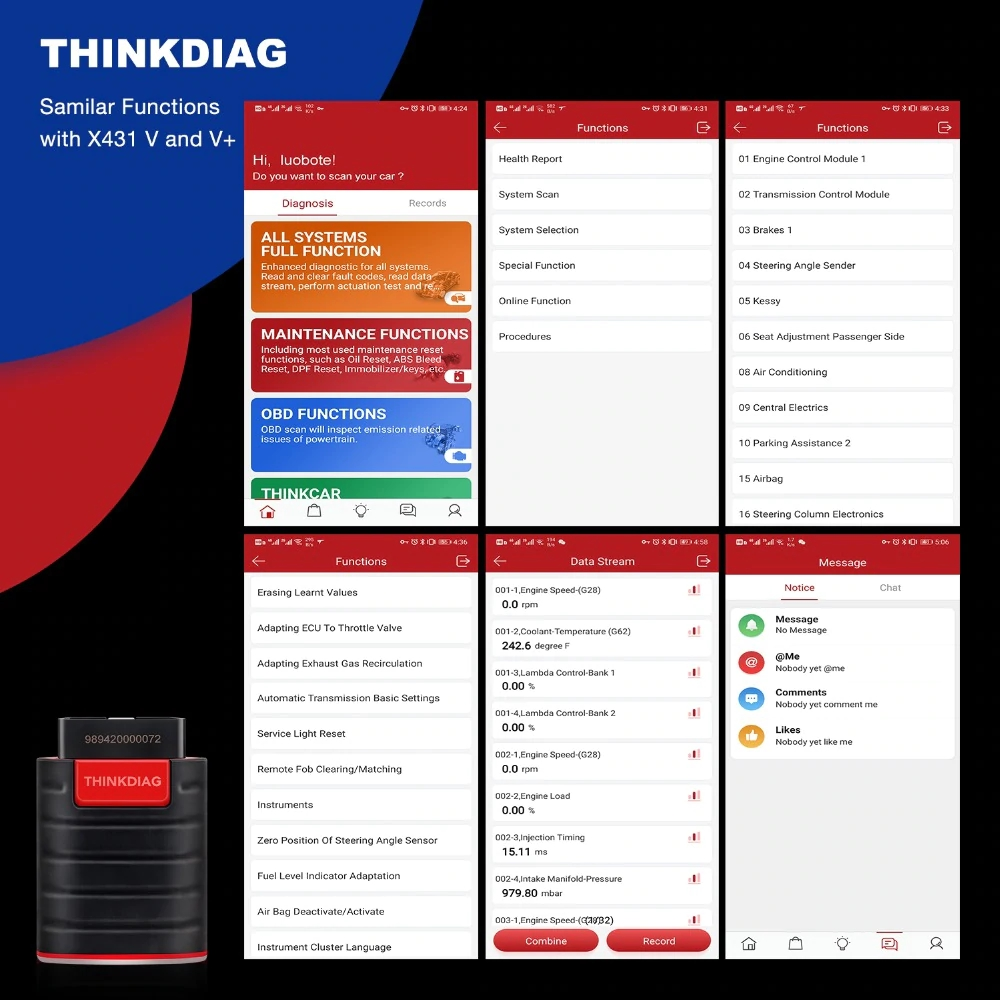 Launch thinkdiag smailar functions with x431 v and v+
