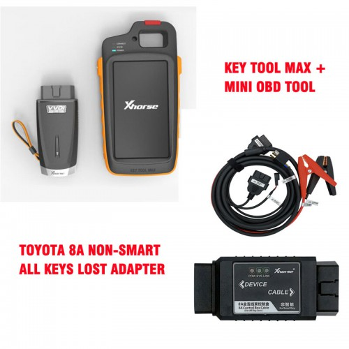 Xhorse VVDI Key Tool Max Device with VVDI MINI OBD Tool and Toyota 8A Non-smart Key Adapter for All Key Lost