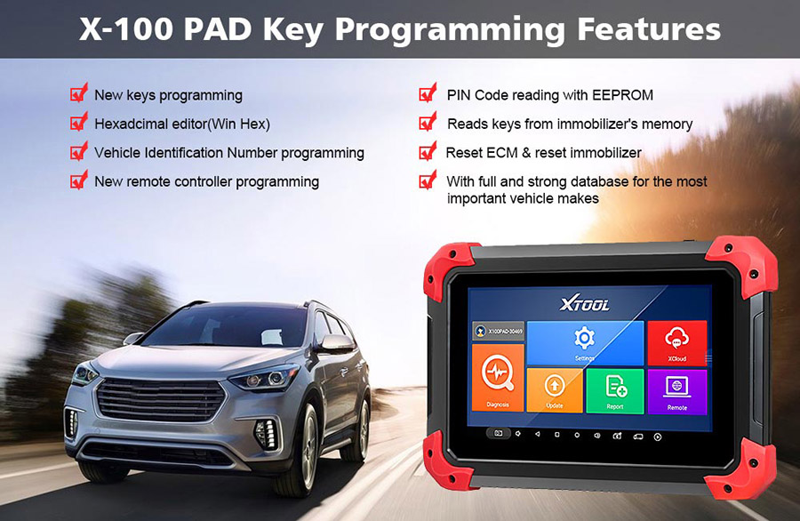 X100 PAD key programmer features